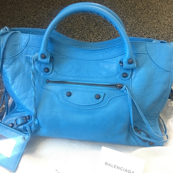 Balenciaga Handbags - New Balenciaga Classic City Lambskin Tote Bag Blue