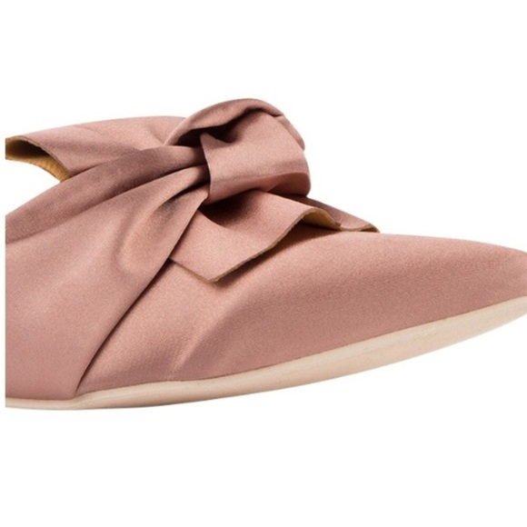 Shoes - 🆕Fiona Pink Satin Pointy Toe Mules