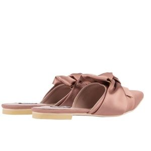 Shoes - RESTOCKED🆕Fiona Pink Satin Pointy Toe Mules Slide