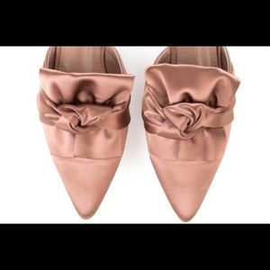 Shoes - 🆕Fiona Pink Satin Pointy Toe Mules Slide