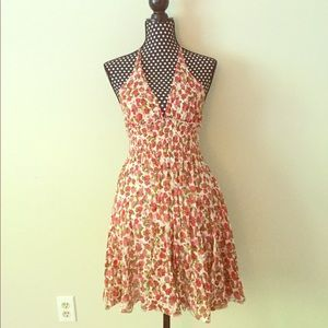 Red Pink White Floral Rose Print Sun Dress