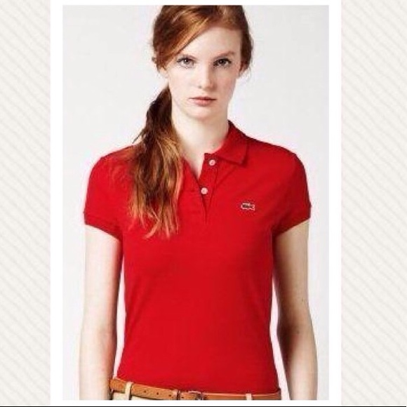 81346abe9a4ce Lacoste Tops - Lacoste Two Button Stretch Pique Polo Red M 46