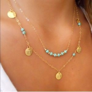 Jewelry - Gold and Turquoise Double Layer Necklace