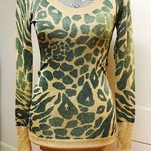 NWOT glittering gold & green sweater dress/tunic.