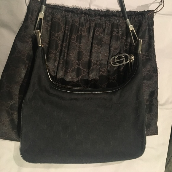 8f057cfb1d43 Gucci Bags | Authentic Gg Monogram Hobo Black Bag | Poshmark