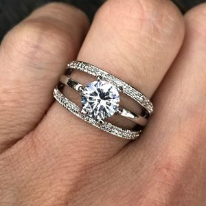 Jewelry - 18K White Gold Plated Engagement Wedding Ring