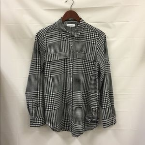 Calvin Klein houndstooth button down Blouse Small