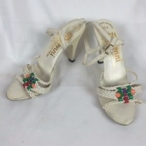 1970's White Faux Leather Heeled Sandals