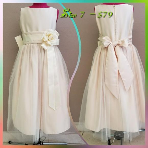127fa704a Dresses | Champagne Vintage Satin Tulle Dress | Poshmark