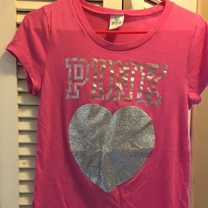 Women's Victoria Secret Pink Glitter Shirt on Poshmark