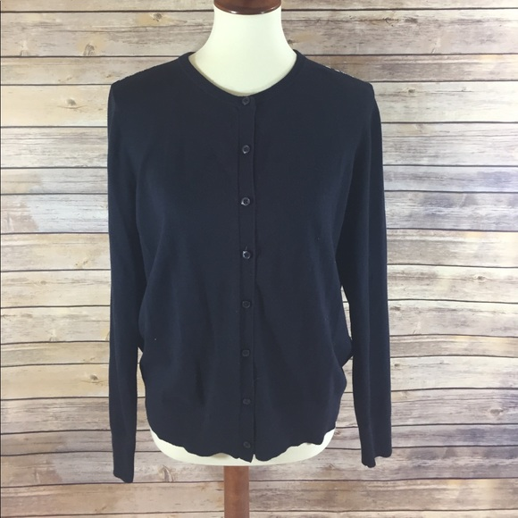 90% off LOFT Sweaters - Loft Navy Cardigan with Sheer Print Back ...