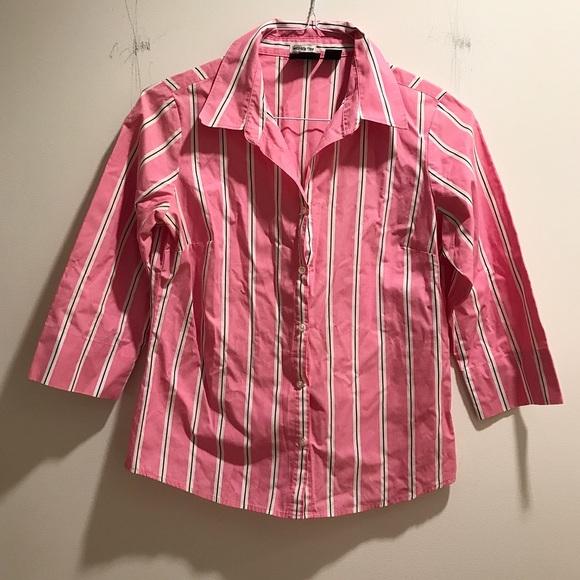 Preppy pink & purple striped button-down shirt