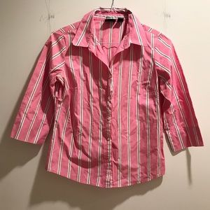 Preppy pink & purple striped button-down shirt
