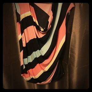 sleeveless diagonal striped cowl neck top