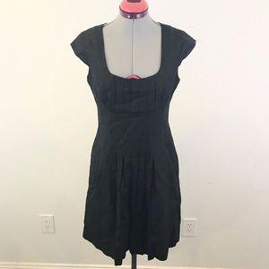 CALVIN KLEIN Pleated Linen Cap Sleeve Career Dress