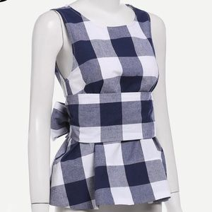 Plaid Shell Top with Tie