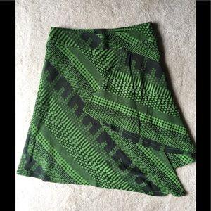 Unsymmetrical Abstract Line Print Knit Skirt