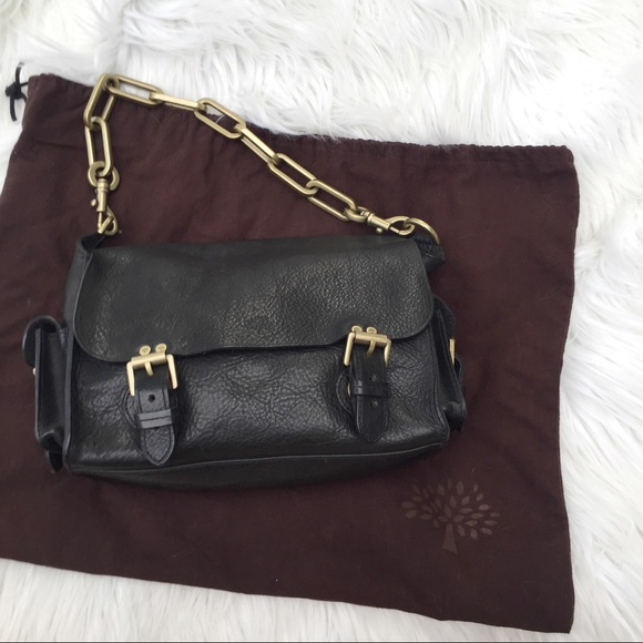 86d64c86fa Mulberry Brooke Chain Bag Pebbled Leather Auth. M 598d13d613302a8307060967