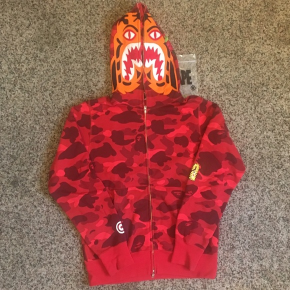 9d0773b7 Bape Jackets & Coats | A Bathing Ape Red Camo Tiger Hoodie | Poshmark