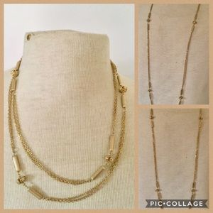 Vintage gold necklace long