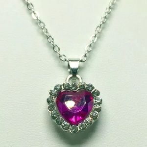 Jewelry - Beautiful Silver Pink CZ Heart Necklace