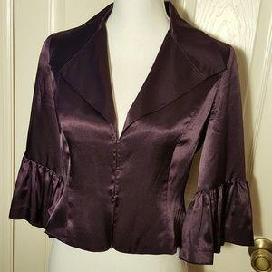 Newport News Purple Satin Ruffle Cropped Jacket