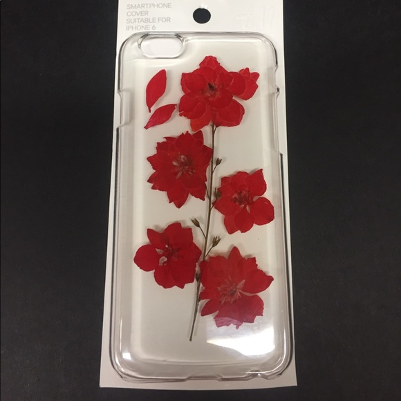 H&M Accessories - IPHONE 6 Phone Case - Clear Red Flower real flower