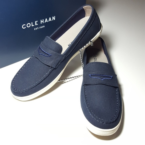 e8d83fd6d0d 🔥NEW🔥 COLE HAAN mens penny loafer navy canvas