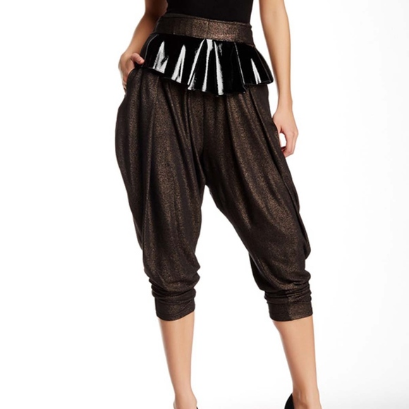 04bfac1f53 TOV Holy Pants | Tov Peplum Metallic Harem Cut Trouser | Poshmark