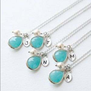 Jewelry - Monogram pendant necklace birth stone birthday
