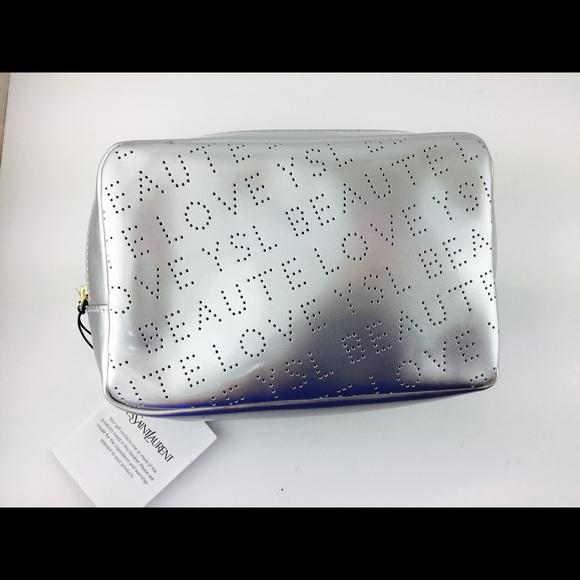 24db162e0083 YSL Beaute Pouch Silver Makeup Cosmetic Bag