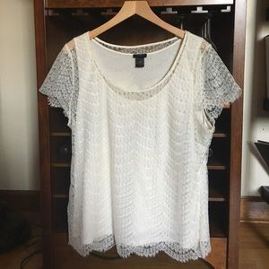 Ann Taylor cream lace top