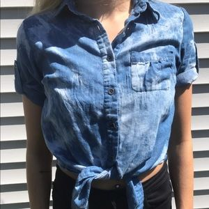 Vintage 90s Bleached Denim Chambray Tie Front Top