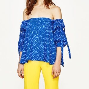 Polka dot blue off the shoulder top