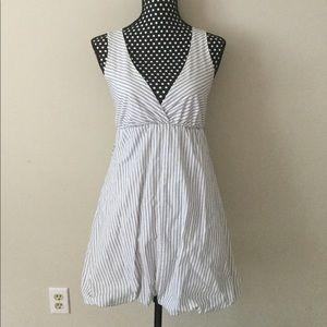 White W/ Grey Pinstripe V Neck Bubble Dress