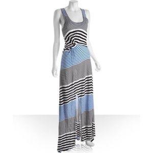 BCBG Maxazria blue and black striped maxi dress