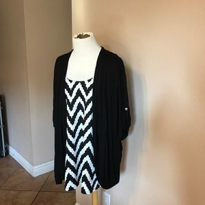 Tops - Black and White Chevron Top