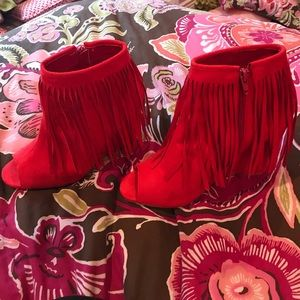 Shoes - Red suede fringe wedges