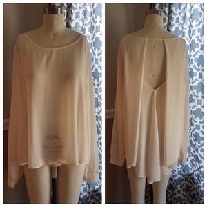 Love Forever21 Cream High-Low blouse