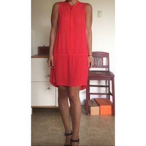 Madewell Bright Coral Sleeveless Dress