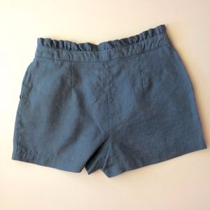 BCNU Shorts - BCNU Blue High-Waisted Linen Shorts