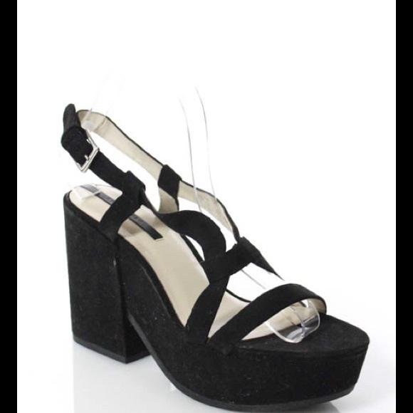 31fa886eee0 Zara Suede Black Platform Wedges Size 9. M 598ddff98f0fc4a57708299a