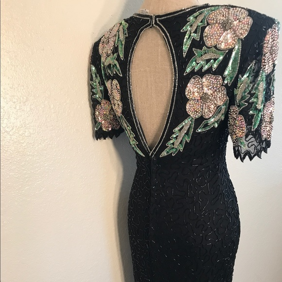 Vintage Dresses - Stunning Vintage Silk Beaded Sequin Cocktail dress