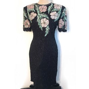 Stunning Vintage Silk Beaded Sequin Cocktail dress