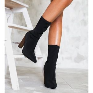 🆕Willow Black Lycra Sock Boots Ankle Booties