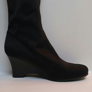 Fitzwell Shoes - Sexy satin stretch winter wedge boots!