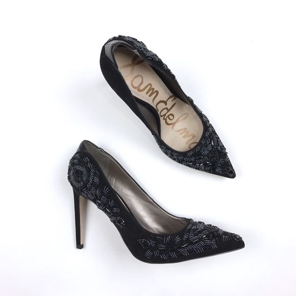 364fba97baeb81 Sam Edelman Dani Black Beaded Pointed Pump