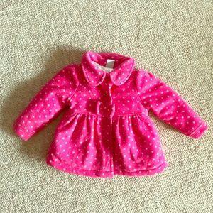 Pink & White Polka Dot Winter Coat