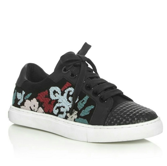 Rebecca Minkoff Zaina Embroidered Suede Sneakers 8.5 Women's Shoes