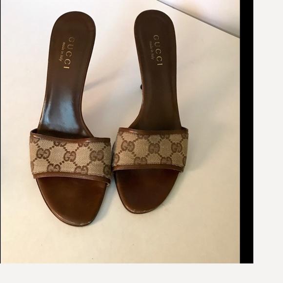 680f13206 Gucci Shoes | Brown Tan Leather Logo Print Sandals 8 | Poshmark